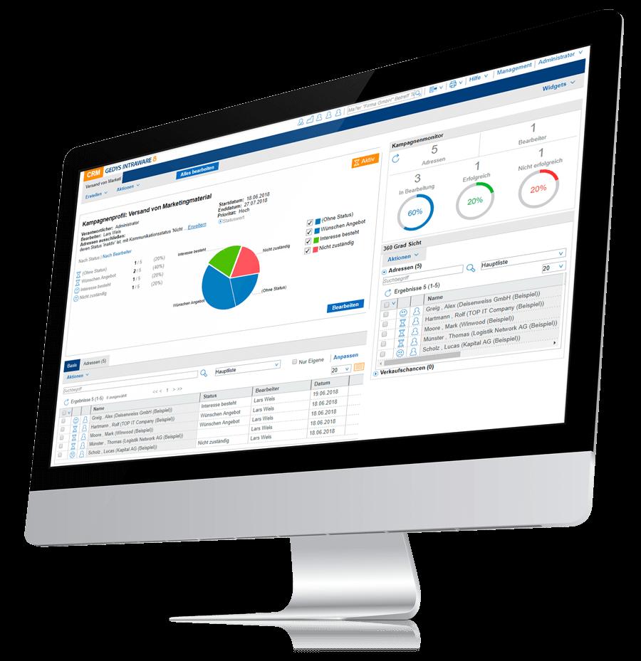 GEDYS IntraWare Web-CRM auf Desktop, Ansicht einer Kampagne