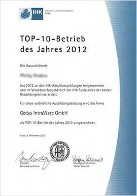 Urkunde IHK Auszeichnung TOP 10 Betrieb 2012