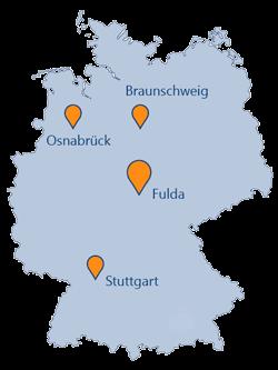 Lanskarte mit den Standorten der GEDYS IntaWare in Deutschland