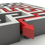 Titelbild Ausschnitt: Roter Pfeil zeigt Weg aus Labyrinth