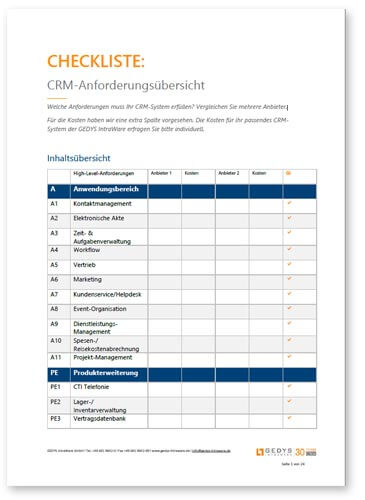 Checkliste: CRM-Anforderungen, Titelblatt DE