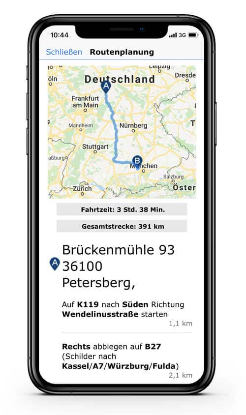 CRM App: CRM mit Routenplanung