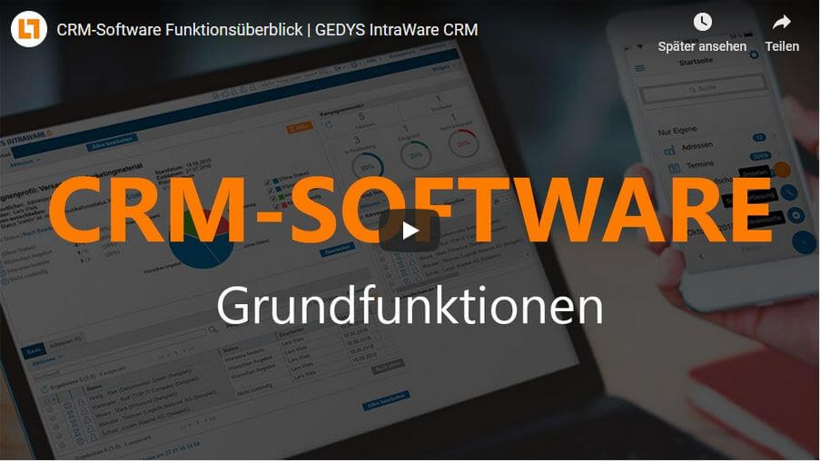 Video: CRM-Software Funktionsüberblick | GEDYS IntraWare CRM