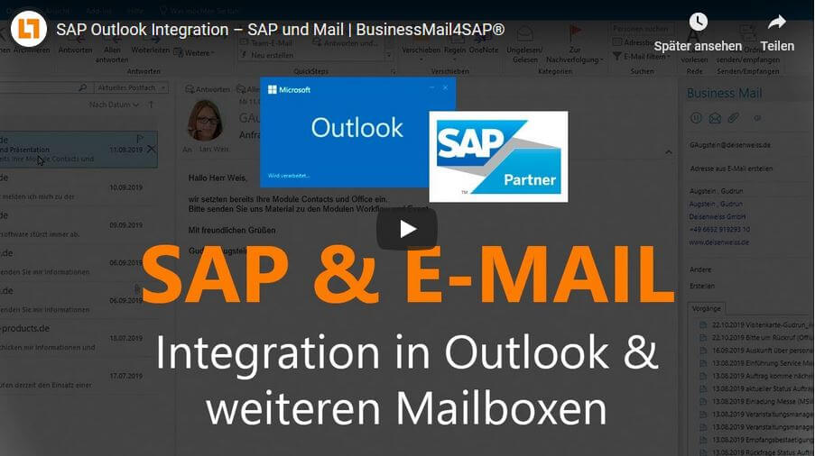 Video: SAP Outlook Integration – SAP und Mail | BusinessMail4SAP®