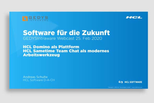 Folien zu Webinar HCL Domino V11 von GEDYS IntraWare