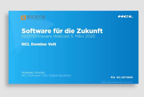 Folien zu Webinar HCL Domino Volt von GEDYS IntraWare