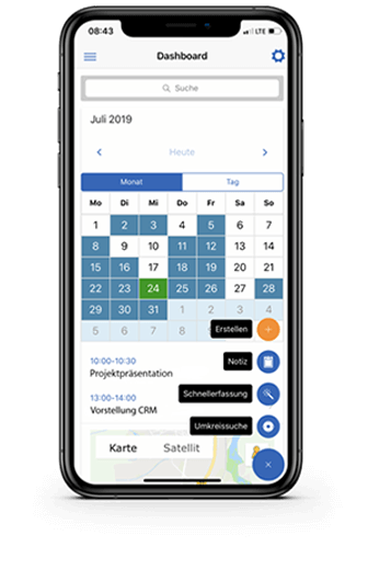 Mobile CRM-App: Dashboard, GEDYS-IntraWare
