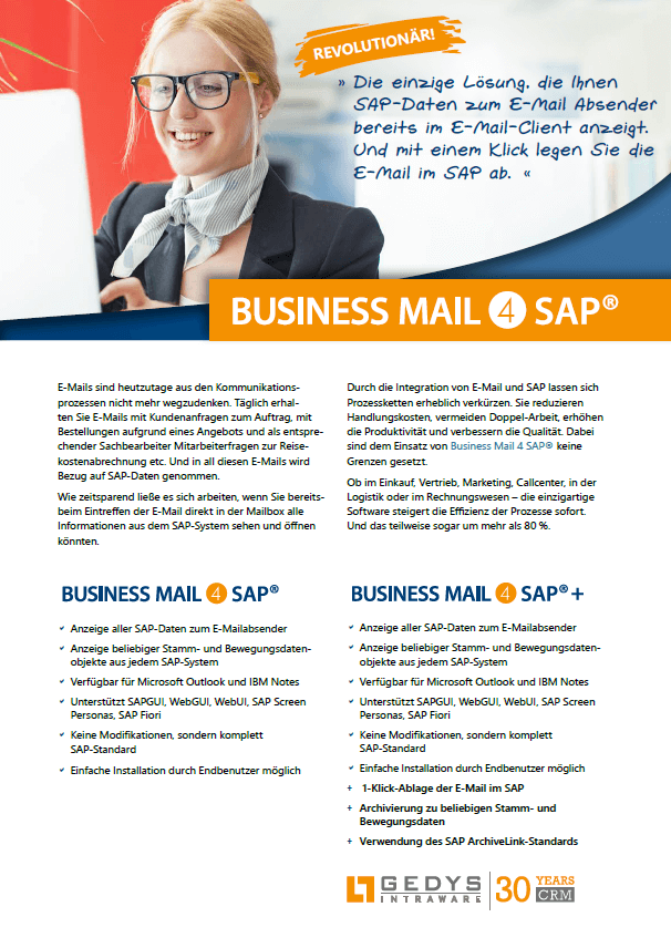 Titelseite Flyer BusinessMail4SAP, GEDYS IntraWare