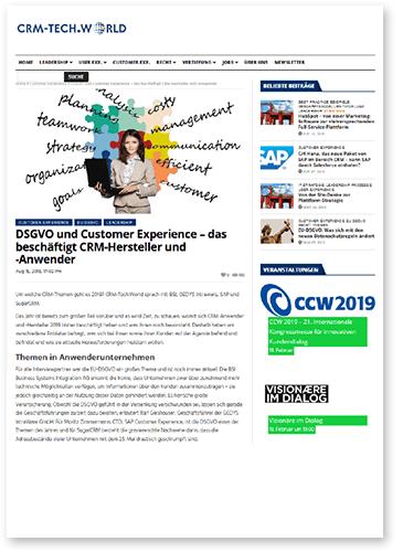 """Titelbild zu Fachartikel """"DSGVO und Customer Experience"""" von GEDYS IntraWare"""