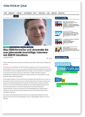 """Titelbild zu Fachartikel """"Interview mit Ralf Geishauser"""" von GEDYS IntraWare"""