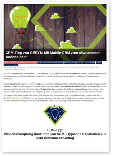 """Titelbild zu Fachartikel """"Mit mobile CRM zum allwissenden Außendienst"""" von GEDYS IntraWare"""