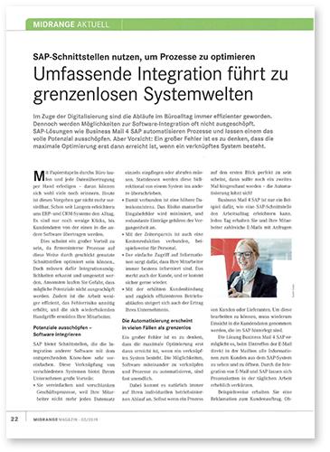 """Titelbild zu Fachartikel """"Umfassende Integration"""" von GEDYS IntraWare"""