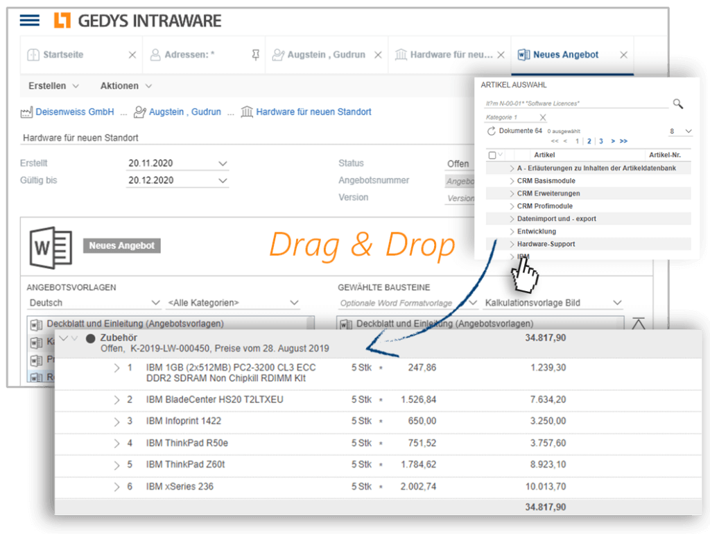 Quickly create quotes with CRM in Sales Release 8-11, GEDYS-IntraWare