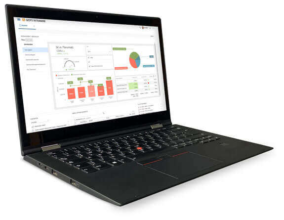 Dashboards und Reports im CRM-Release 8.11 auf Laptop, GEDYS IntraWare