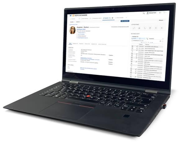 CRM für Service und IT: 360 Grad-Überblick auf Laptop, GEDYS-IntraWare