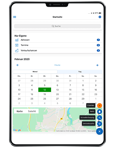 Mobile CRM app. Dashboard on Ipad; GEDYS IntraWare