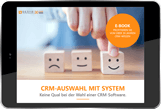 E-book: CRM selection with system, cover image on a tablet