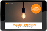 E-book: What is a CRM?, small cover photo on tablet