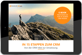 Cover photo of E-Book In 15 stages to CRM on a tablet