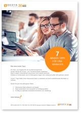 """Cover photo with shadow to white paper """"7 Tips for CRM Manager"""" by GEDYS IntraWare"""