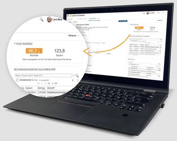 Ditigal gegen Corona: Corona-Widget auf Laptop