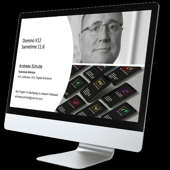 Desktop mit Startseite zu HCL Webinar DominoV12 und Sametime11.6 von GEDYS IntraWare
