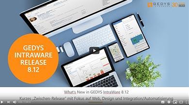Startseite der Videokonferenz-Aufzeichnung zum Release 8.12 von GEDYS IntraWare